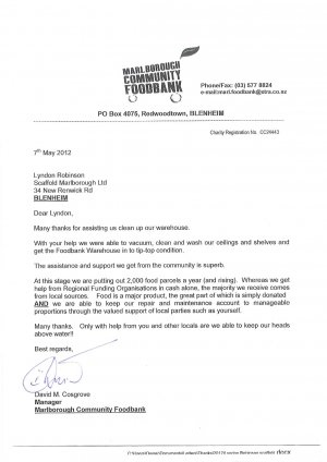 Foodbank Thankyou letter May12